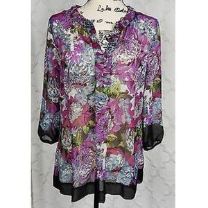 Charter Club Blouse Size 10 Purple Green Floral